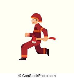 ヘルメット, 操業, 保護である, 消防士, 火, 人々。, 刃, ユニフォーム, 保有物, おの, 置かれた, を除けば, 赤, から