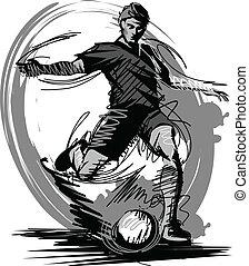 ベクトル, ける, サッカーボール, プレーヤー