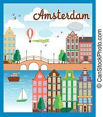 ベクトル, すてきである, 都市, アムステルダム, 背景