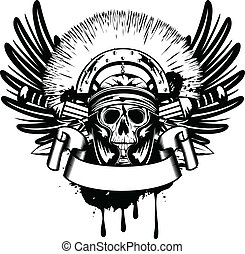 ベクトル, イメージ, 交差させる, 剣, ヘルメット, 頭骨