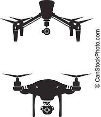 ベクトル, イラスト, 無人機, カメラ, デザイン, ロゴ, 技術, アイコン