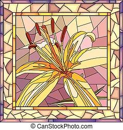 ベクトル, イラスト, 花, lilies., 黄色