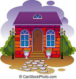 ベクトル, イラスト, cottage.