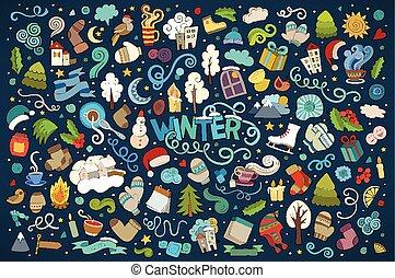 ベクトル, オブジェクト, doodles, 手, カラフルである, 引かれる, 漫画, セット, 冬