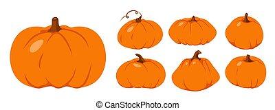 ベクトル, オレンジ, セット, 感謝祭, 平ら, 秋, カボチャ