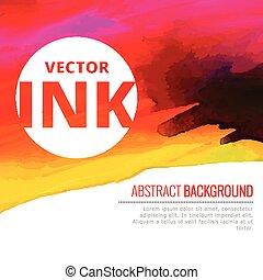 ベクトル, カラフルである, 水彩画, 明るい, はね返し, インク