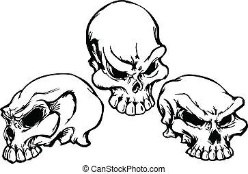 ベクトル, グラフィック, im, グループ, 頭骨