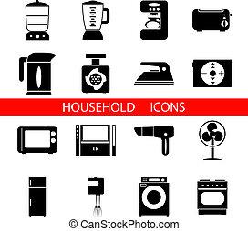 ベクトル, シルエット, シンボル, 隔離された, セット, 家庭のアイコン, イラスト