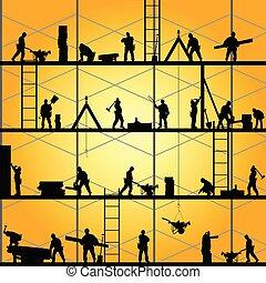 ベクトル, シルエット, 仕事, 労働者, イラスト, 建設