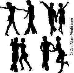 ベクトル, シルエット, 女, 人, ダンス