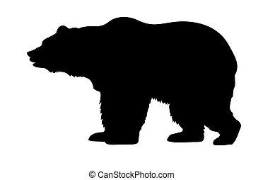 ベクトル, シルエット, 熊