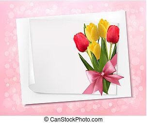 ベクトル, シート, カラフルである, flowers., ペーパー, 背景, 休日
