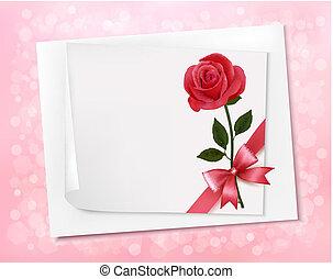 ベクトル, シート, flowers., ペーパー, 背景, 休日, 赤