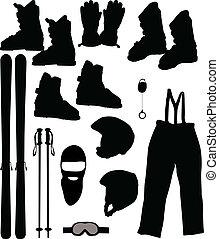 ベクトル, スキーをする, セット, -, イラスト