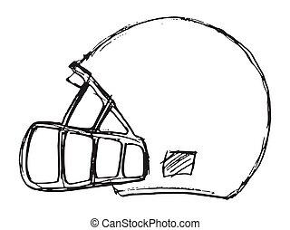 ベクトル, スケッチ, ヘルメット, フットボール, アメリカ人