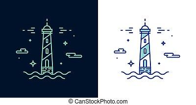 ベクトル, スタイル, 灯台, 線である, アイコン