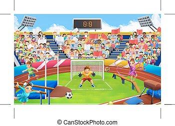 ベクトル, スポーツ, 競技場, 背景, 活躍の舞台