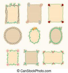 ベクトル, セット, イラスト, 手, 4., frames., 引かれる