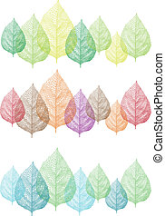 ベクトル, セット, カラフルである, 葉