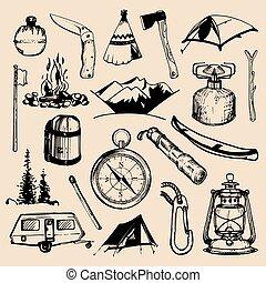 ベクトル, セット, キャンプ, elements., 型, 冒険, 手, 屋外, sketched, イラスト, 引かれる, 紋章, ∥など∥., バッジ