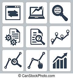 ベクトル, セット, データ, 分析, アイコン