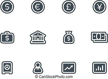 ベクトル, セット, ビジネス アイコン, 金融