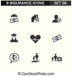 ベクトル, セット, 保険, アイコン