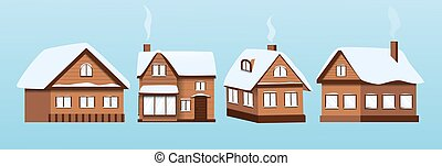 ベクトル, セット, 家, イラスト, 住宅の, 建物, 雪, 冬, roofs.