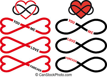 ベクトル, セット, 無限点, 赤, 心