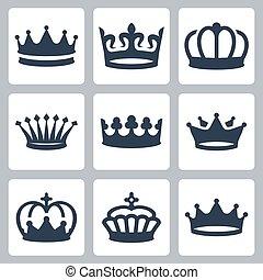 ベクトル, セット, 王冠, アイコン