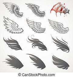 ベクトル, セット, 翼
