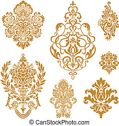 ベクトル, セット, 装飾, 金, ダマスク織