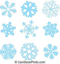 ベクトル, セット, 雪片, イラスト, 冬