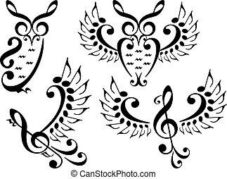 ベクトル, セット, 音楽, 鳥, フクロウ