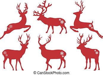 ベクトル, セット, 鹿, クリスマス, 雄鹿