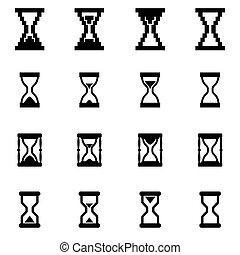 ベクトル, セット, 黒, 砂時計, アイコン