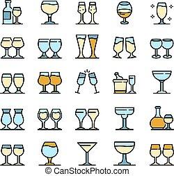 ベクトル, セット, wineglass, アイコン, 平ら