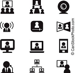 ベクトル, セミナー, ビデオ, communication(meeting, 会議, training), アイコン