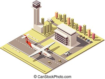 ベクトル, ターミナル, プロペラ, poly, タワー, 建物, 制御, 低い, minimalistic, 空港, 飛行機の着陸, 等大
