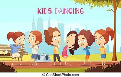 ベクトル, ダンス, イラスト, 子供