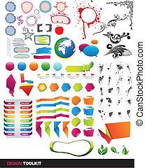 ベクトル, ツールキット, 要素, designer's