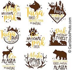 ベクトル, テンプレート, アラスカ, 要素, デザイン, サイン, シルエット, 国民, promo, カラフルである, 荒野, 公園, シリーズ