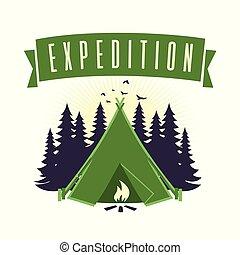 ベクトル, テンプレート, ロゴ, キャンプファイヤー, 冒険, キャンプ, 遠征隊, 山
