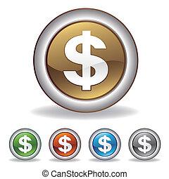 ベクトル, ドル, アイコン