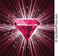 ベクトル, バックグラウンド。, 明るい, ダイヤモンド, 赤
