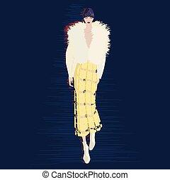 ベクトル, ファッション, illustration.