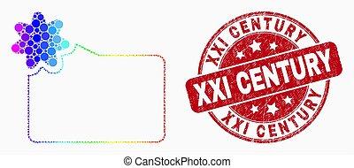 ベクトル, フォルダー, xxi, 切手, 新しい, 点を打たれた, アイコン, スペクトル, グランジ, 世紀