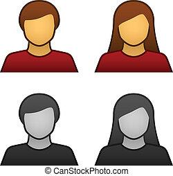 ベクトル, マレ, avatar, 女性, アイコン