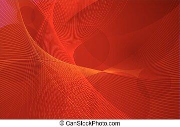 ベクトル, ライン, 赤い背景, 波