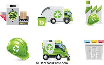 ベクトル, リサイクル, セット, 屑, アイコン